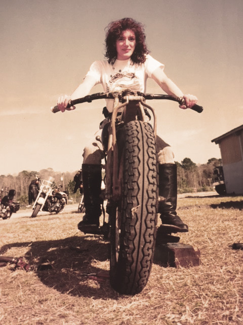 Bessie's first bike was a 1928 Indian Scout. Ann is on a vintage Indian of the period used for motordrome stunt riding at the old wooden Wall of Death, Daytona Bike Week, 1993. Bessie said she rode in a motordrome in her youth. Ann was happy to applaud others who did it!
