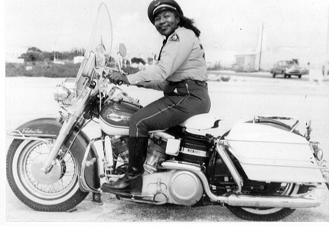 Bessie Stringfield on her Harley-Davidson Electra Glide via Ann Ferrar Collection. This is another photo given to Ann by Bessie herself.