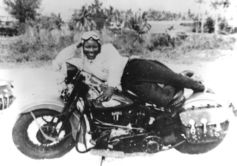 Bessie is vamping here, but in the age of Jim Crow, sometimes she slept on her bike at gas stations when no one would rent her a motel room.